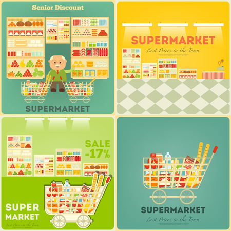 shopping malls: Supermarket Posters Set. Shop and Supermarket Shelves with Products. People Shopping at Grocery. Consumerism Concept.  Sale. Senior Discount. Vector Illustration.