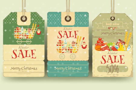 retro christmas: Christmas Supermarket Sale Tags in Retro Style. Winter Sell-out Labels Collection. Vector Illustration.