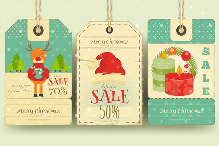 retro christmas: Christmas Sale Tags in Retro Style with Xmas Decoration. Winter Sell-out Labels Collection. Vector Illustration.