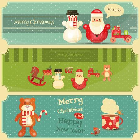メリー クリスマスと新年あけましておめでとうございますのポスターは、レトロなスタイルで設定します。ヴィンテージのおもちゃコレクション - 木製のサンタ クロース、雪だるま、鉄道、クマとドラム。 水平方向のフォーマットです。ベクトルの図。