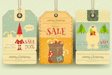 sellout: Christmas Sale Tags in Retro Style with Xmas Symbols - Santa Claus, Polar Bear. Winter Sell-out Labels Collection. Vector Illustration.