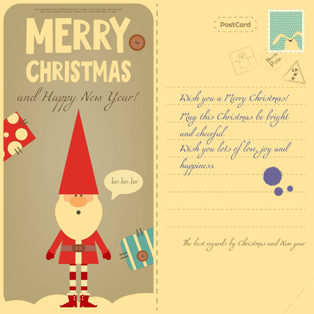 postal: Vintage Postcard with Christmas and New Years Greeting. Backdrop of Postal Card for Winter Holiday. Santa Claus. Vector Illustration.
