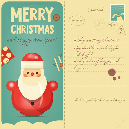 postcard back: Vintage Postcard with Christmas and New Years Greeting. Backdrop of Postal Card for Winter Holiday. Santa Claus Toy. Vector Illustration. Illustration