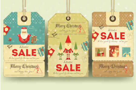 retro christmas: Christmas Sale Tags in Retro Style with Xmas Symbols - Santa Claus, Elves. Winter Sell-out Labels Collection. Vector Illustration. Illustration