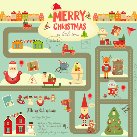 christmas characters: Christmas characters on City Map. Cute Santa Claus, Polar Bear, Snowman and Toys on Infographic Card.  Vector Illustration.