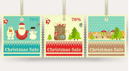 sellout: Christmas Sale Tags with Xmas Symbols - Santa Claus, Gifts, Snowman. Winter Sell-out Labels Collection. Vector Illustration.