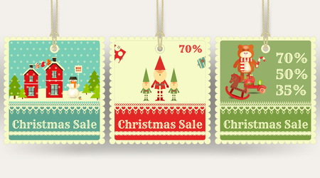 sellout: Christmas Sale Tags with Xmas Symbols - Santa Claus, Gifts, Toys. Winter Sell-out Labels Collection. Vector Illustration. Illustration