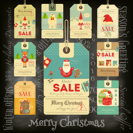 retro christmas: Christmas Sale Tags in Vintage Style on Blackboard. Chalk Text. Winter Sell-out Labels Collection. Vector Illustration.