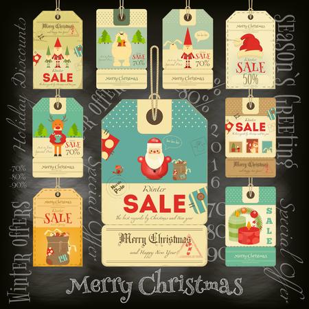 Weihnachten Sale Tags im Vintage-Stil auf Tafel. Kreide Text. Winter-Sell-out-Etiketten-Sammlung. Vektor-Illustration.