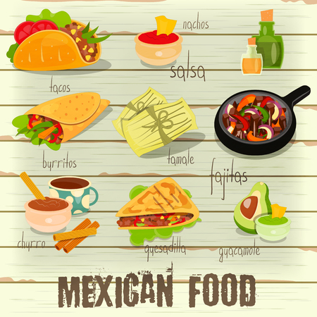 burrito: Mexican Food Menu Card with Traditional Spicy Meal on White Wooden Background. Vector Illustration. Illustration