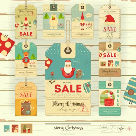 sellout: Merry Christmas and New Year Sale Tags in Retro Style on White Wooden Background. Winter Sell-out Labels Collection. Vector Illustration.