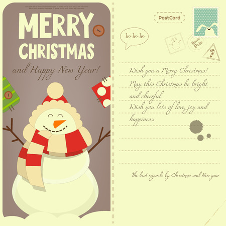 postal: Vintage Postcard with Christmas and New Years Greeting. Backdrop of Postal Card for Winter Holiday. Cartoon Snowman. Vector Illustration.