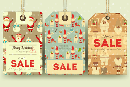sellout: Christmas Sale Tags in Retro Style with Xmas Symbols - Santa Claus, Snowman, Polar Bear. Winter Sell-out Labels Collection. Vector Illustration. Illustration