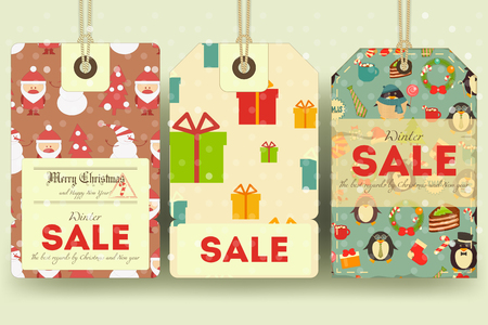 sellout: Christmas and New Year Sale Tags Set in Retro Style with Xmas Symbols - Santa Claus, Snowman. Winter Sell-out Labels Collection. Vector Illustration.