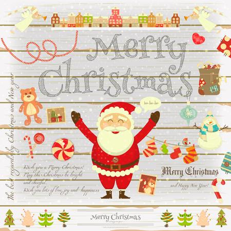 Christmas Poster In Retro Style On White Wooden Background Santa