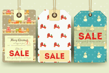 sellout: Christmas and New Year Sale Tags Set in Retro Style with Xmas Symbols. Winter Sell-out Labels Collection. Vector Illustration.