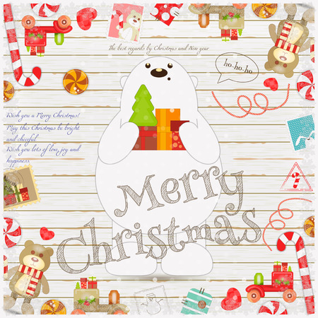 holiday gifts: Merry Christmas and New Year Card - Holiday Frame - Polar Bear with Gifts and Xmas Symbols on White Wooden Background. Vector Illustration.