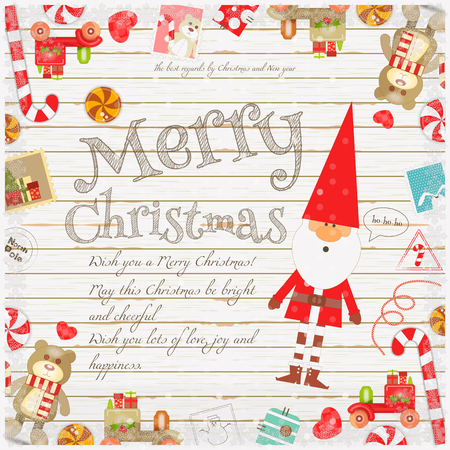 Merry Christmas And New Year Card - Holiday Frame - Santa Claus ...