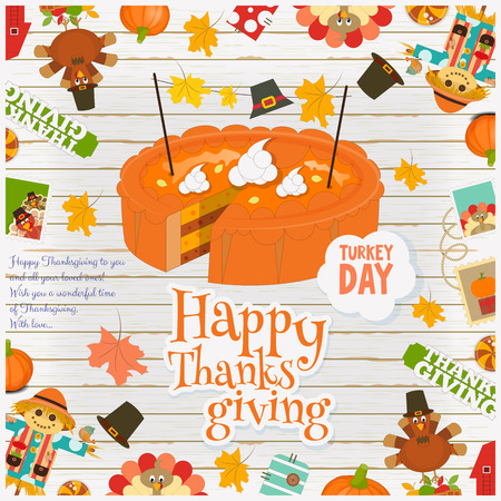 autumn garden: Thanksgiving Day Card - Holiday Frame - Pumpkin Pie Turkey and Thanksgiving Objects and Symbols on White Wooden  Background. Vector Illustration. Illustration