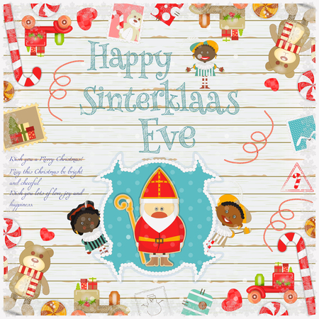pete: Cartoon Sinterklaas or Saint Nicholas - Dutch Santa Claus and Pete on White Wooden Background. Holiday Frame. Christmas in Holland.Vector Illustration. Illustration