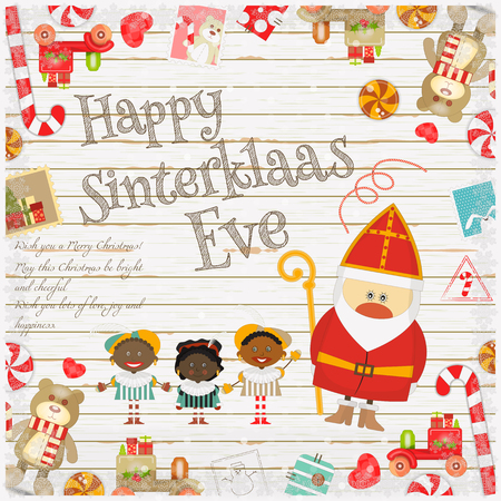 zwarte: Cartoon Sinterklaas or Saint Nicholas - Dutch Santa Claus and Pete on White Wooden Background. Christmas in Holland.Vector Illustration. Illustration