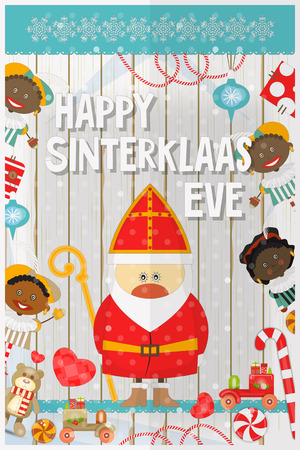zwarte: Cartoon Sinterklaas or Saint Nicholas - Cartoon Dutch Santa Claus and Pete on White Wooden Background. Holiday Frame. Christmas in Holland.Vector Illustration. Illustration