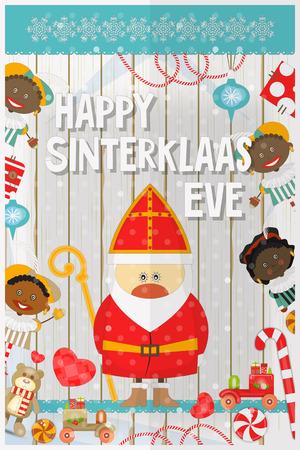 pete: Cartoon Sinterklaas or Saint Nicholas - Cartoon Dutch Santa Claus and Pete on White Wooden Background. Holiday Frame. Christmas in Holland.Vector Illustration. Illustration