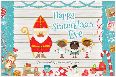 Cartoon Sinterklaas of Sinterklaas - Nederlandse Kerstman en Pete op witte houten achtergrond. Holiday Frame. Kerstmis in Holland. Xmas Card. Vector Illustratie.
