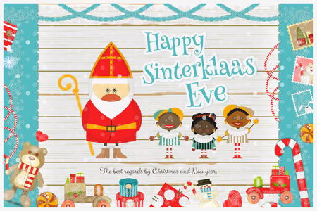 pete: Cartoon Sinterklaas or Saint Nicholas - Dutch Santa Claus and Pete on White Wooden Background. Holiday Frame. Christmas in Holland. Xmas Card. Vector Illustration.