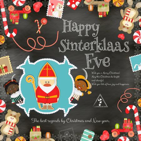 Cartoon Sinterklaas of Sinterklaas - Nederlandse Kerstman en Pete op Blackboard Achtergrond. Holiday Frame. Kerstmis in Holland.Vector Illustration.