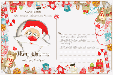 claus: Xmas Postcard with Christmas and New Years Greeting. Backdrop of Postal Card with Postage Stamps for Winter Holiday. Santa Claus. Vector Illustration. Illustration