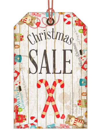 christma: Christmas Sale Tag in Vintage Style. Holiday Discounts. Vector Illustration.