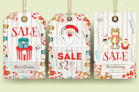 christma: Merry Christmas Sale Tags in Retro Style. Holiday Discounts. Vector Illustration.