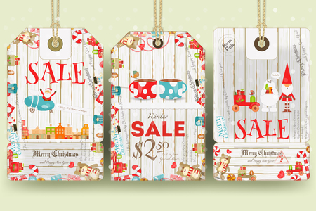 christma: Christmas Sale Tags in Retro Style. Holiday Discounts. Vector Illustration.