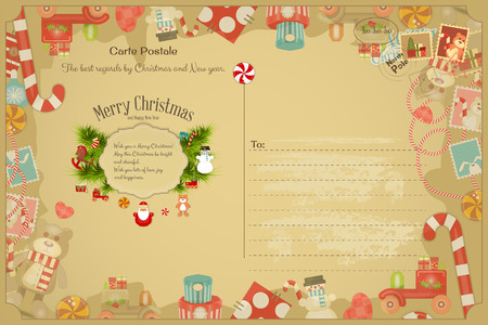 postal: Xmas Postcard with Christmas and New Years Greeting. Backdrop of Postal Card with Postage Stamps for Winter Holiday. Vintage Style. Vector Illustration. Illustration