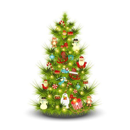 Decorated Christmas Tree on White Background. Xmas Toys. Isolated. Vector illustration. Vektoros illusztráció