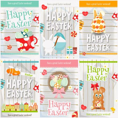 hunt: Easter Cards Set. Mini Posters Collection - Eggs, Rabbit on White Wooden Background. Vector Illustration. Illustration