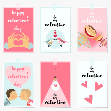 wedding love: Valentines Day Greeting Cards Set. Love Posters for Wedding, Invitation. Vector Illustration.