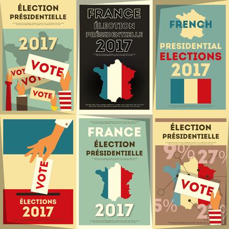 France Presidential Election Voting. Posters Set. Vector Illustration.