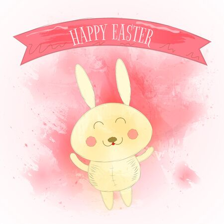 Happy Easter Greeting Card with Cute Rabbit and Watercolor Splashes. Vector Illustration.