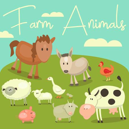 country farms: Cartoon Cute Farm Animals and Birds Set. Vector Illustration.