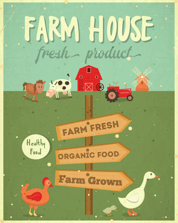 food: Farm House Vintage Poster. Farmers Market. Healthy Food, Organic Products and Farming Concept. Retro Style. Vector Illustration. Illustration