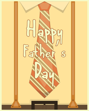 suspenders: Fathers Day Poster Greeting Card. Flat Design. Retro Style. Man Hipster Clothing. Vector Illustration.