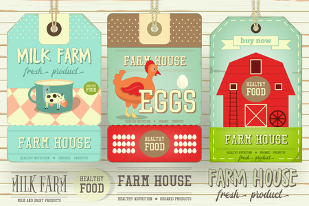 barns: Set of Price Tag Label for Farm Product. Fresh Healthy Organic Food. Dairy Produce, Eggs. Vector Illustration.