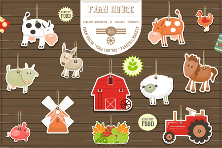 house donkey: Farm Stickers Collection. Livestock Animals. Fresh Healthy Organic Food Stickers. On Wooden Background. Vector Illustration. Illustration