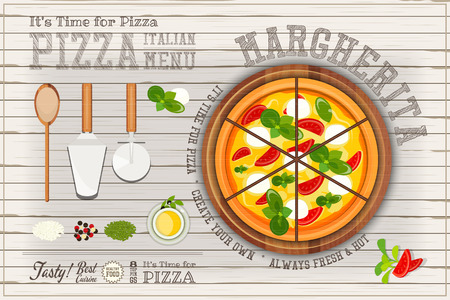 margherita: Traditional Italian Food - Margherita Pizza, Ingredients and Cutlery on White Wooden Background. Top View. Vector Illustration.
