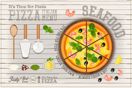 pizza cutter: Traditional Italian Food - Pizza Seafood, Ingredients and Cutlery on White Wooden Background. Top View. Vector Illustration.