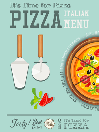 cake background: Traditional Italian Food Poster - Pizza,  Pizza Cutter and Cake Server on Blue  Background. Placard Style. Top View. Vector Illustration. Illustration