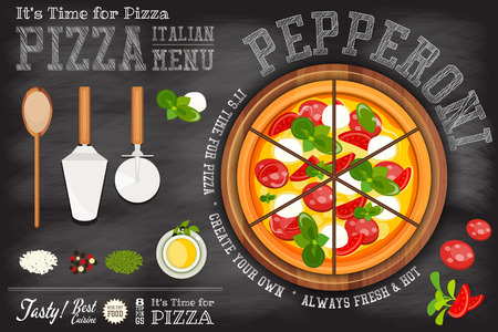 Traditional Italian Food - Pizza Pepperoni, Ingredients and Cutlery on Blackboard. Chalk Text. Top View. Vector Illustration.