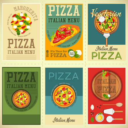 margherita: Traditional Italian Food Posters Set - Pizza. Placard Retro Style. Top View. Vector Illustration.